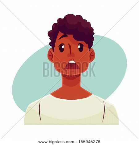 Young african man face, surprised facial expression, cartoon vector illustrations isolated on blue background. Handsome boy emoji surprised, shocked, amazed, astonished. Surprised face expression