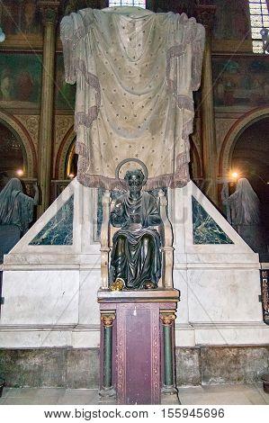 PARIS, FRANCE, april 25 2016.  Interior and details of the Church of Saint-Germain des pres in Paris.