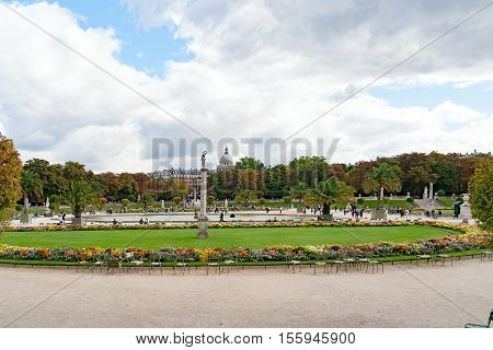 PARIS, FRANCE, april 25, 2016: The Luxembourg Garden in Paris. Luxembourg Palace is the official residence of the French Senate.