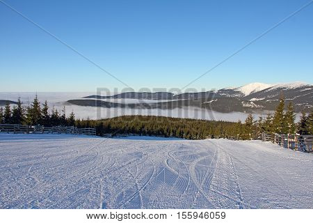 Slope On The Skiing Resort