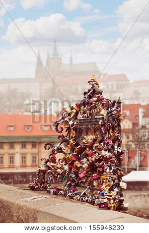 Charles Bridge (Karluv Most) and Lesser Town Tower Prague Czech Republic