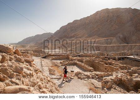 Ruins At Qumran Site Near Dead Sea. Israel