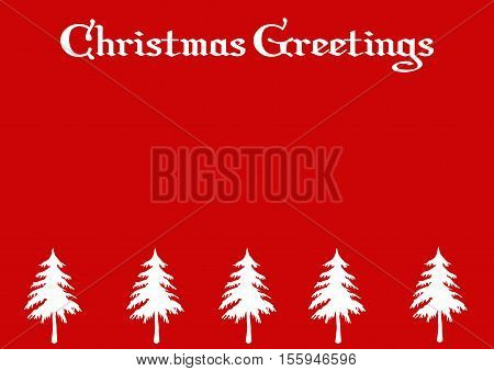 Christmas Greeting Background with Trees on a red background