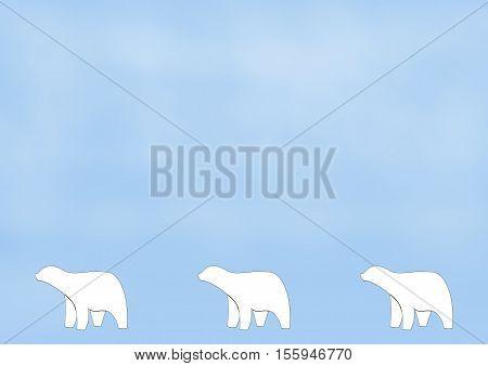 Three Polar Bear Figures on a Misty Blue Background