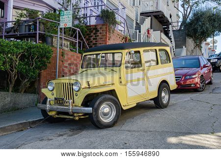 Jeep Station Wagon  On San Francisco Street