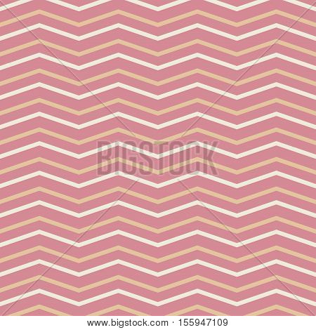 Summer seamless zig zag pattern in pink. Vector.