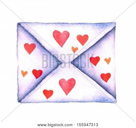 Old-fashioned mail envelope with hearts painted in watercolor isolated on white background. Watercolor vintage mail envelope hand drawn on a white background