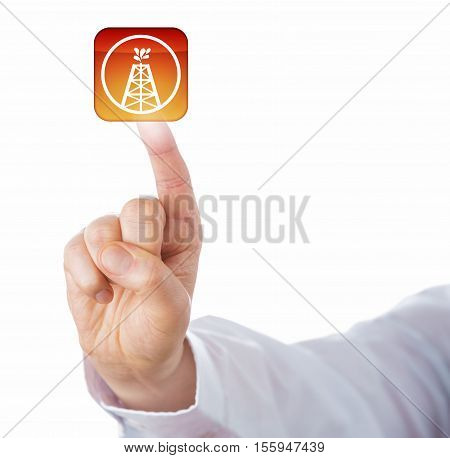 Index finger of white collar worker is touching virtual oil and gas drilling push button. Business concept and energy industry metaphor for oil well gas well wellbore and drilling technology.
