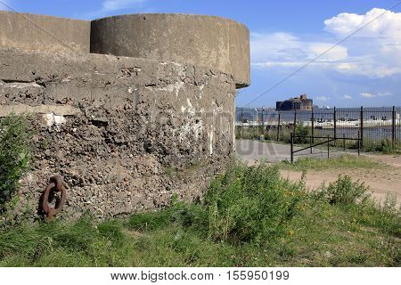 Kronstadt Russia - July 10 2016: View of the Fort Alexander (or Plague) from Fort Constantine. Forts of Saint-Petersburg are fortification constructions for protections from attack by naval forces