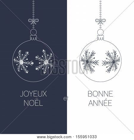 french christmas and new year greeting card with textured christmas balls and text duotone france holiday vector