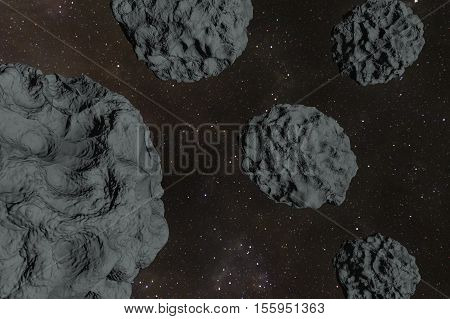 An asteroid field in the deep cosmos 3d rendering