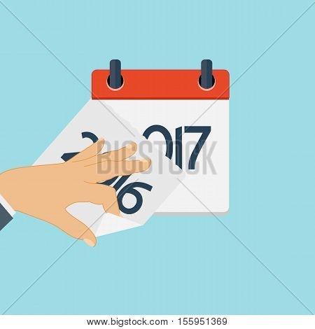 2017 New Year Calendar Flat Daily Icon Template. Vector Illustration Emblem. Element of Design for Decoration Office Documents and Applications. Logo of Day, Date, Time, Month and Holiday. EPS10