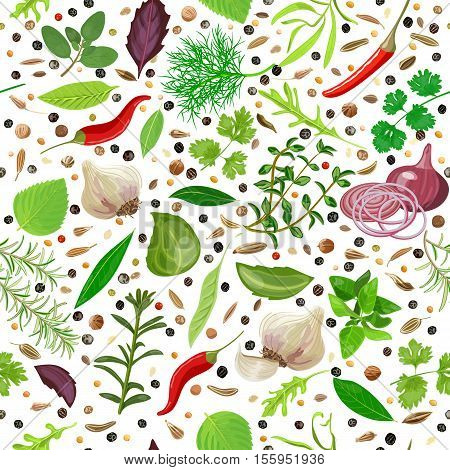 Cooking herbs and spices seamless pattern vector set. Popular culinary seasonings. Design for cosmetics, store, market, natural health care products. Can be used as logo, textile, packing, wrapping