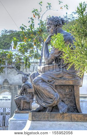 Sculptures and statues in a beautiful cemetery in Guayaquil, Ecuador