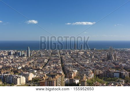 View of Barcelona, the Mediterranean sea, The tower Agbar on the left, the twin towers in the center and The Sagrada Familia Basilica on the right side.