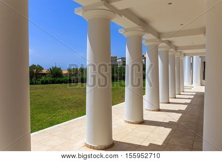 greek neoclassical architecture building with doric columns