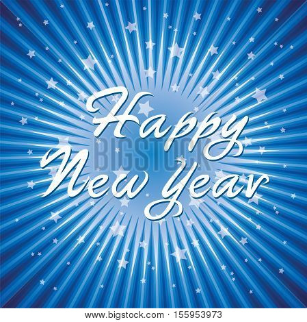 vector abstract happy new year background with radial star burst