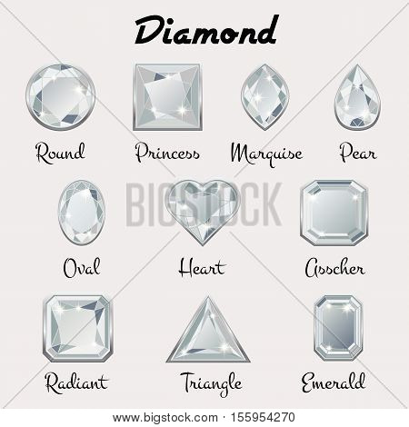 Set of different types of cuts of precious stone Diamond in realistic shapes in white color with silver edging. Vector illustration