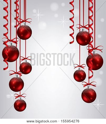 vector new year background with collection of hanging red xmas balls