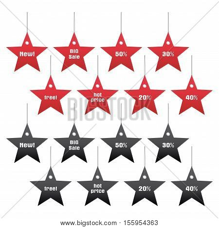 vector set of discount and sale tags star shape