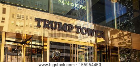 Entrance Of Trump Tower On Fifth Avenue In Midtown Manhattan.