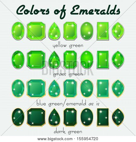 Set of crystals in natural tints of green color of precious stone Emerald in different cuts. Vector illustration