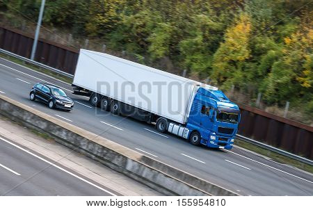 European lorry in motion on the british motorway