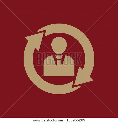 The management and rotation icon. Management and rotation, partnership, communication, human resources symbol. UI. Web. Logo. Sign Flat design App Stock vector