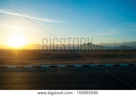 Sunrise in Africa. panorama along the route