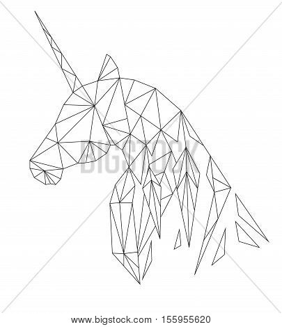 Unicorn's head in the polygonal style. Isolated on white background. Vector illustration