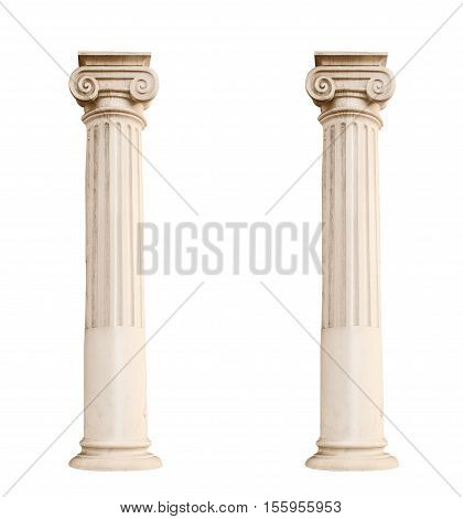 Two architectural columns isolated on a white background