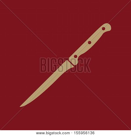 The knife for meat icon. Knife and chef, kitchen symbol.UI. Web. Logo. Sign. Flat design. App Stock vector