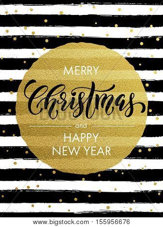 Merry Christmas gold glitter greeting card. Vector black and white stripes, golden glittering circle ball ornament. Gilt calligraphy lettering modern trend dotted poster background