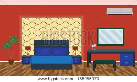 Bright luxury bedroom interior with furniture light equipment air conditioning. Flat style vector illustration.