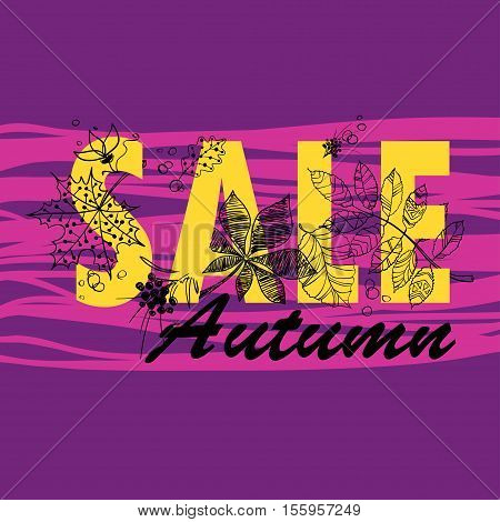 Colorful autumn sale background with tree foliage. Vector illustration.