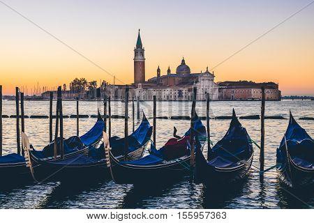 Venice Gondolas And San Giorgio Basilica In Cross Processed Style