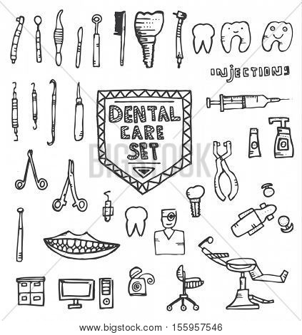 Dental Care Set with Different Hand Drawn Icons Isolated on White Background. Vector Illustration.