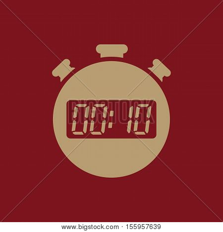 The 10 seconds, minutes stopwatch icon. Clock and watch, timer, countdown, stopwatch symbol. UI. Web. Logo Sign Flat design App Stock vector
