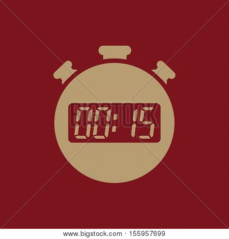 The 15 seconds, minutes stopwatch icon. Clock and watch, timer, countdown, stopwatch symbol. UI. Web. Logo Sign Flat design App Stock vector
