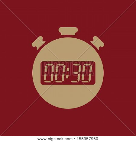 The 30 seconds, minutes stopwatch icon. Clock and watch, timer, countdown, stopwatch symbol. UI. Web. Logo Sign Flat design App Stock vector