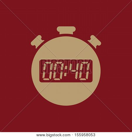 The 40 seconds, minutes stopwatch icon. Clock and watch, timer, countdown, stopwatch symbol. UI. Web. Logo Sign Flat design App Stock vector