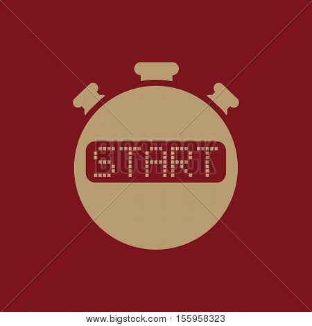 The start stopwatch icon. Clock and watch, timer, countdown, stopwatch symbol. UI. Web. Logo Sign Flat design App Stock vector