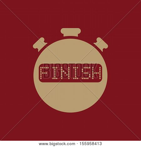 The finish stopwatch icon. Clock and watch, timer, countdown, stopwatch symbol. UI. Web. Logo Sign Flat design App Stock vector