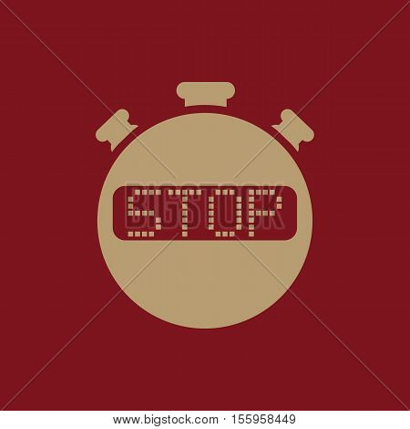 The stop stopwatch icon. Clock and watch, timer, countdown, stopwatch symbol. UI. Web. Logo Sign Flat design App Stock vector