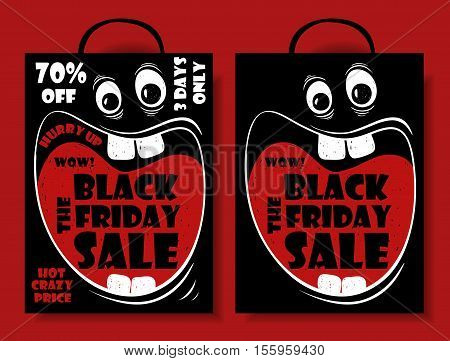 Funny Black Friday sale set of crazy shopping bag with cartoon face and screaming big mouth. Vector illustration.
