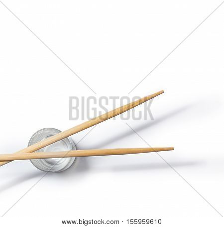 Wooden asian chopsticks isolated on white background