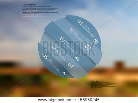 Infographic illustration template with shape of circle askew divided to five parts with blue semi-transparent color. Background is blurred photo with nature field and sky motif.