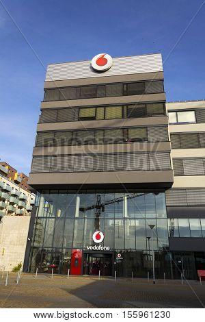 Prague, Czech Republic - November 7: Vodafone Telecommunications Company Logo On Czech Headquarters