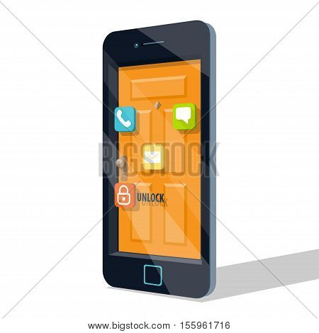 Smartphone door icons. Lock Vector illustration in flat cartoon style isolated from the background EPS 10