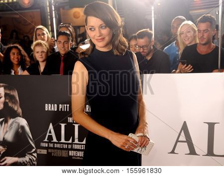 Marion Cotillard at the Los Angeles premiere of 'Allied' held at the Regency Village Theatre in Westwood, USA on November 9, 2016.